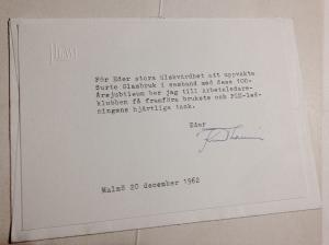 Gratulationsbrevet från Knut Laurin då Surte fyllde 100år